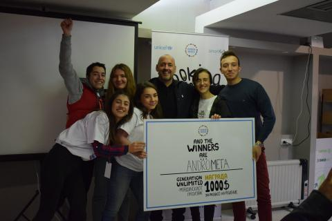 One of the groups that won the first generation unlimited challenge together with UNICEF representative Benjamin Perks