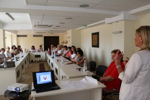 UNICEF officer for health and nutrition Danche Nikovska Gudeva speaks at the training of trainers - a group of patronage nurses selected for the first round of capacity development activities, that will be responsible for onpassing the accumulated knowledge and skills to their colleagues