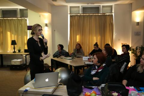 Dr. Rebekah Granger-Ellis - expert in social and emotional development, speaking at the first training session in Skopje
