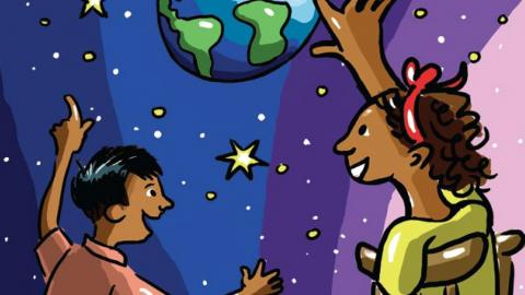 An illustration of two children, one of which is with a disability, looking at the stars and the planet Earth