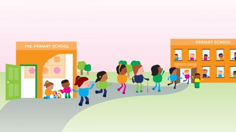 An illustration containing a lot of children including children with disabilities walking from pre-school to elementary school