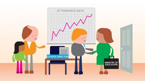 an illustration containing a group of people analyzing data