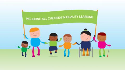 an illustration containing a group of children carrying the message  - including all children in quality education