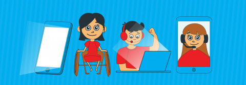 An illustration showing 4 different segments of the services we talk about in the text. A Phone, a girl in a wheelchair, a boy working on a computer and a phone screen with a women talking