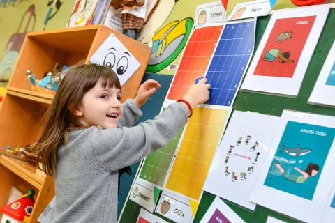 A girl interacting with a  poster about recognizing emotions