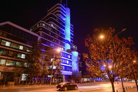The building of the Ministry of Education and Science in North Macedonia is light up blue
