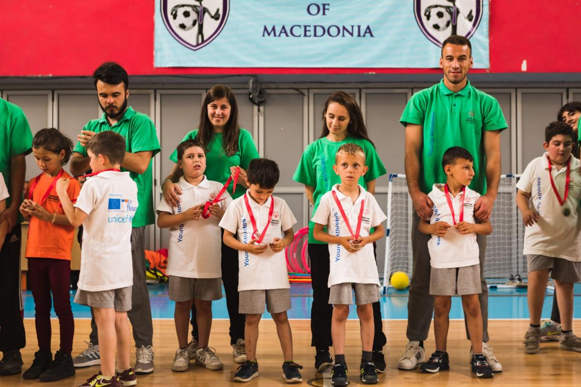 Medal awarding ceremony at the final event of the young athletes programme