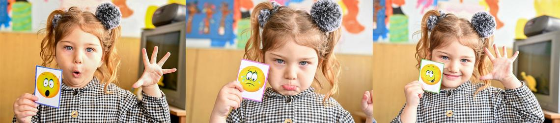 A set of three photos with a small girl from kindergarten presenting different emotions