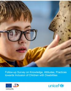 A front page of the publication containing a photo of a child with visual impairment exploring a statue with his hands and fingers