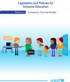 a front page of the publication containing its title and an illustration containing a group of people from various institutions including parents and children working on inclusive education