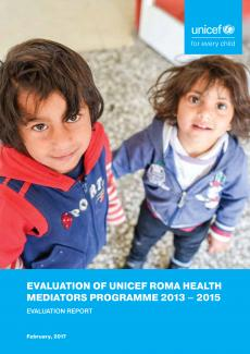 A front page of the publication containing its title and a photo of two Roma children standing in front of the clinic in Shuto Orizari