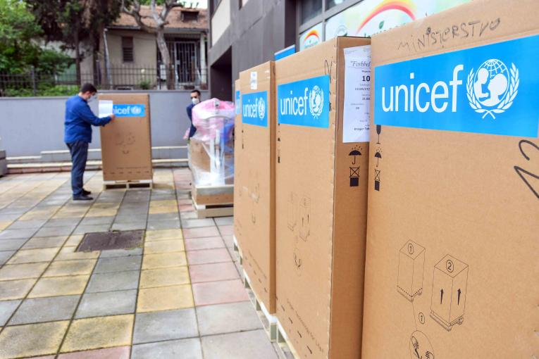 Boxes with ventilators donated by UNICEF