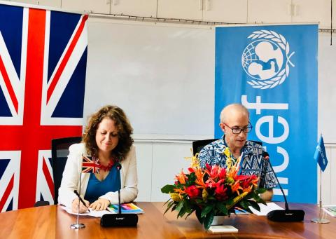 British High Commissioner to Fiji, Melanie Hopkins and UNICEF Pacific Representative, Sheldon Yett during the signing in Suva yesterday.