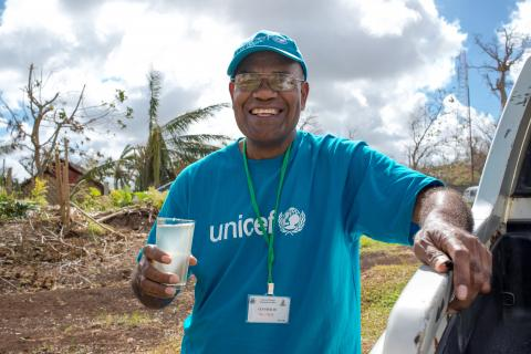 A UNICEF health worker posing for camera.
