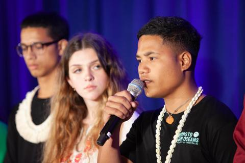 Ranton Anjain, 17, from Ebeye, Marshall Islands, speaks at a press conference announcing a collective action being taken on behalf of young people facing the impacts of the climate crisis.