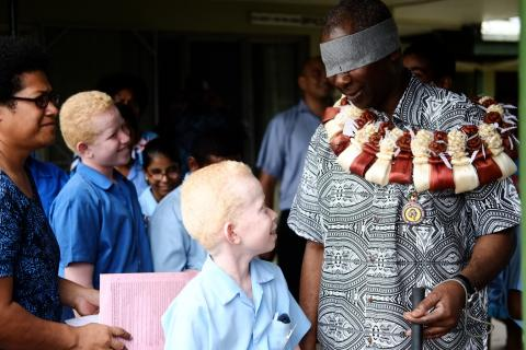 The President of the 74th Session of the United Nations General Assembly visits the Fiji School for the Blind.