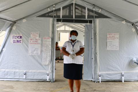 Kelera, frontline healthcare worker in Fiji, stands inside one of the COVID-19 fever clinics.