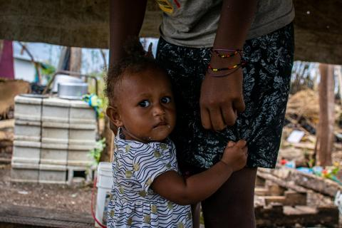 Andriyella, 1, left in the care of her grandmother Viviane, while her mother works in a restaurant in Port Vila to provide for her family.
