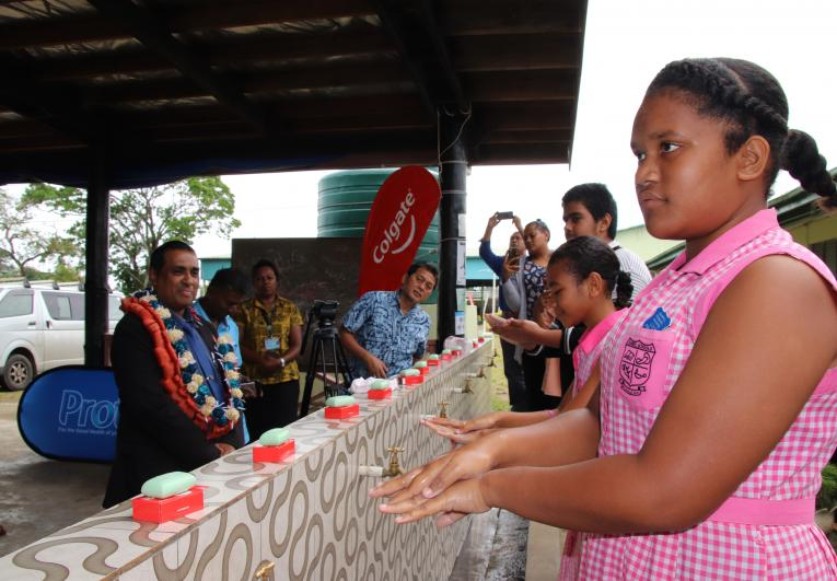 Children lead on the steps of proper handwashing during the 2020 Global Handwashing Day celebration.