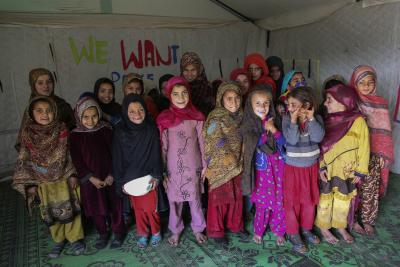 Young girls in UNICEF supported school in Jalozai camp, KPK