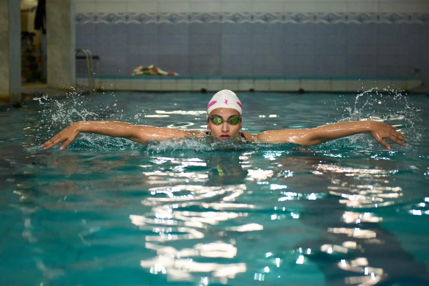 Kiran Khan swims in her swimming pool