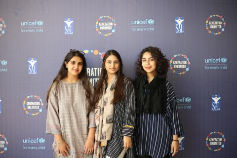 Members of 'Red Code' - The Global Generation Unlimited Youth Challenge winning team from Pakistan