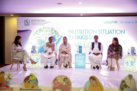 Panelists having a discussion on the 'Nutrition Situation in Pakistan'