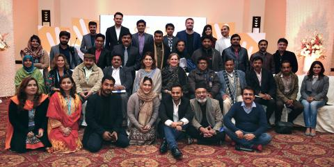 Group of journalists with UNICEF and Punjab government officials after the stunting workshop in Lahore - Jan 2016