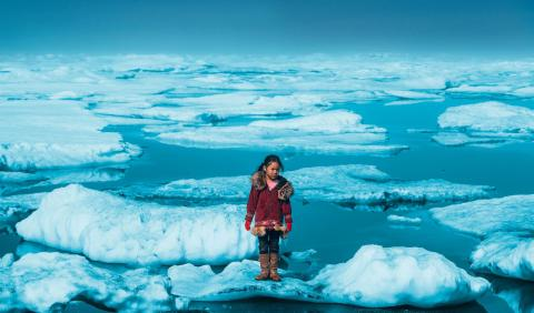 The image shows a young girl standing on melting ice