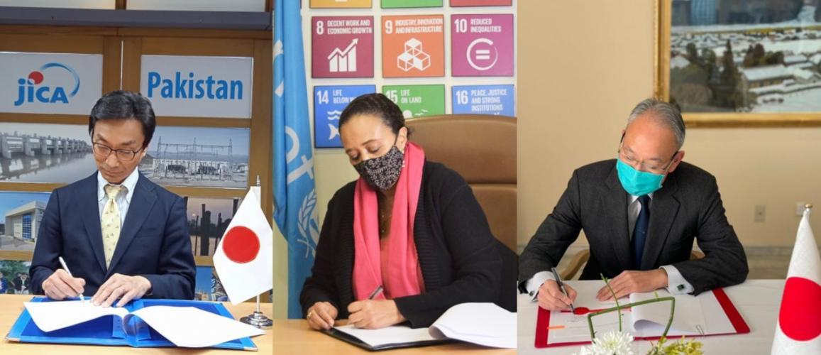 Three people shown as signing the agreement in a merged photo. Left to right. Mr. Shigeki Furuta, JICA Chief Representative; Ms. Aida Girma, Country Representative, UNICEF Pakistan; H.E. MATSUDA Kuninori, Ambassador of Japan.