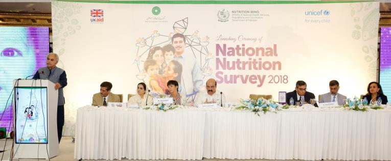 The Federal Health Minister of Pakistan speaks during the launch of National Nutrition Survey 2018