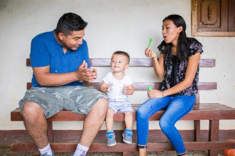 Blanca Nohemí López and Orlando Cristóbal Gómez are playing with their son Pablo Sebastián Gómez López (one year old) on October 24h, 2019 in the community of San Juancito, Monjas, Jalapa in Guatemala.