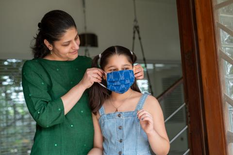 Tanvi ensures her daughter always wears a mask when stepping out of home.