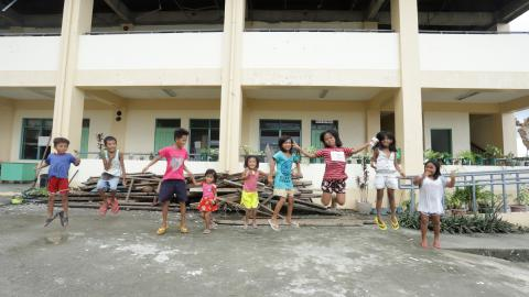Children in front of an evacuation center in Barangay San Andres Catanduanes after super typhoon Rolly/Goni