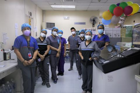 A group of health workers wearing face masks