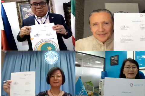 Screenshots of BARMM and UN officials signing a project document during a virtual launch