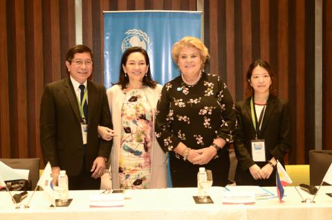 From left to right, Department of Health Undersecretary of Health Dr. Gerardo Bayuga, Senator Risa Hontiveros, UNICEF Philippines Representative Lotta Sylwander, and KOICA Philippines Assistant Country Director Paik Seunghwa