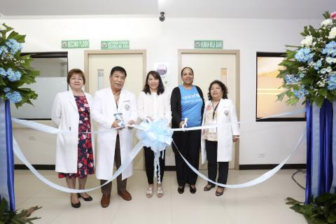 Officials of the Department of Health, Eastern Visayas Regional Medical Center and UNICEF cut the ribbon in front of the EVRMC Human Milk Bank