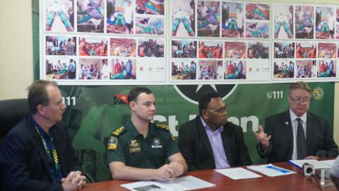 Representatives of St John Ambulance, NDoH and UNICEF announce the collaboration at a press conference