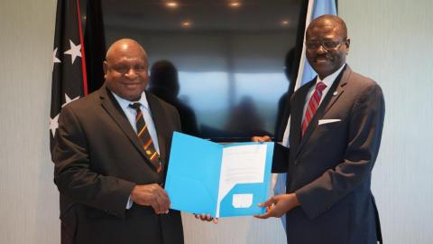 The new incoming Country Representative for UNICEF Papua New Guinea, Dr. Claudes Kamenga, last week presented his Letter of Introduction to the Government, to officially take up his post in-country.