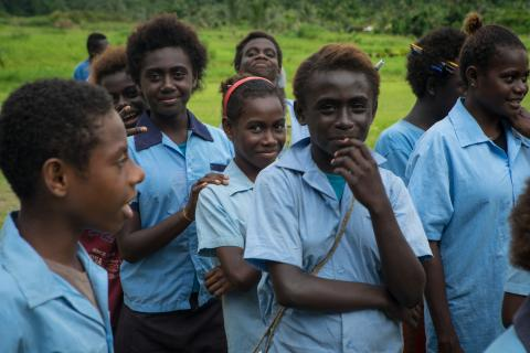 Young students from the Autonomous Region of Bougainville