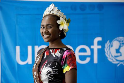 Picture of Miss Pacific Islands and UNICEF Youth Advocate, Miss Leoshina Kariha