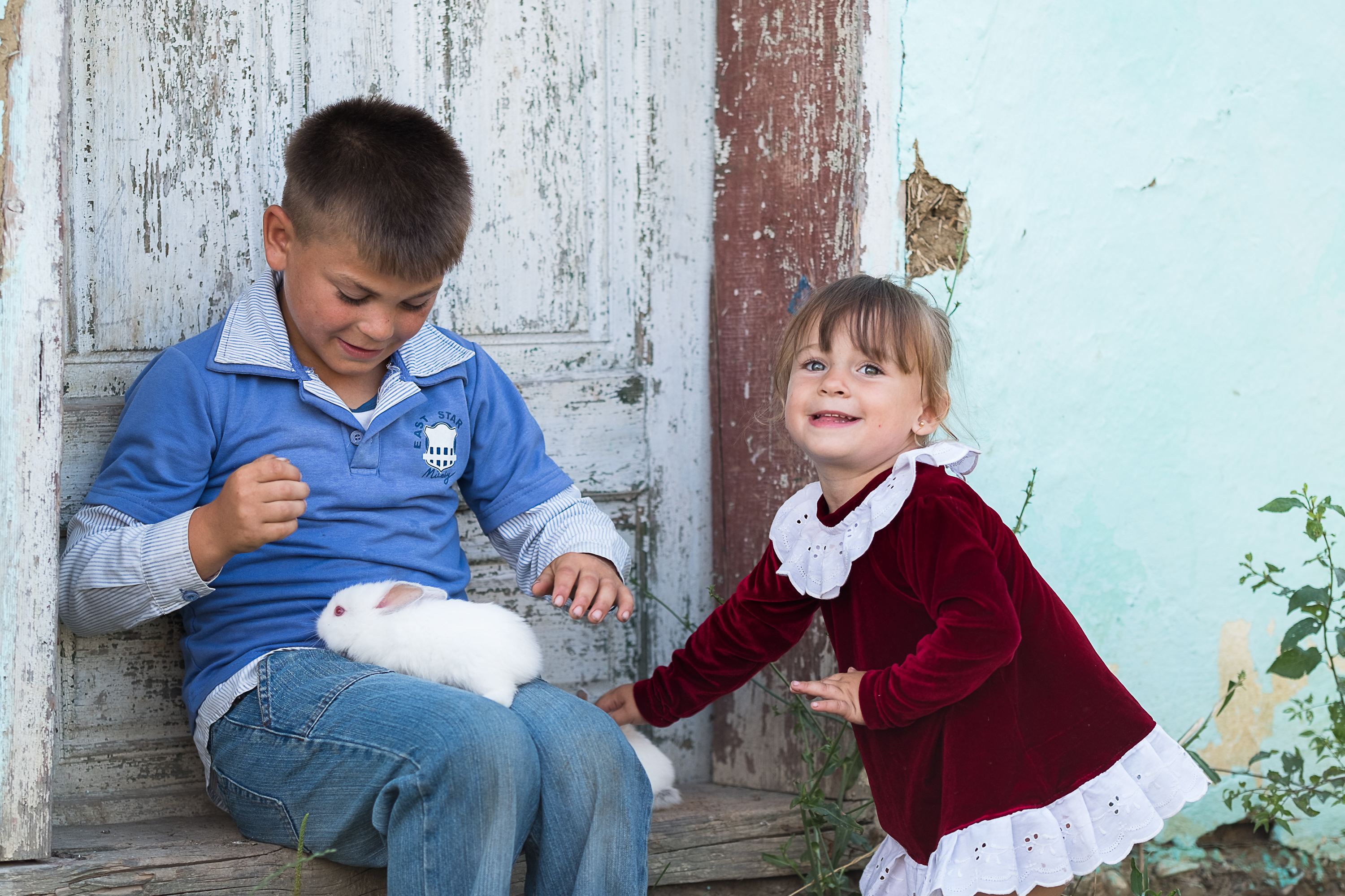 Boy and a girl playing with a rabbit