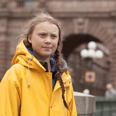 Greta Thunberg, outside the Swedish parliament in Stockholm, August 31, 2018. Greta, only 15 years old at the time, started her schoolstrike for the climate all by herself.