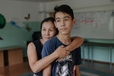 Baurzhan and his mother Aliya in Shymkent, Kazakhstan.