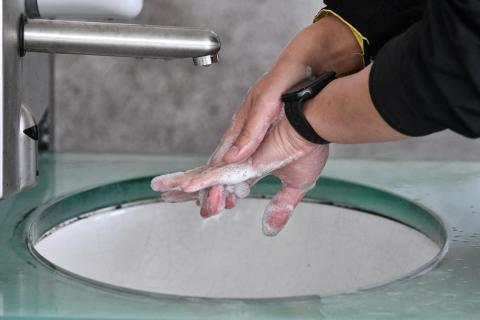 Hands being washed with soap and water
