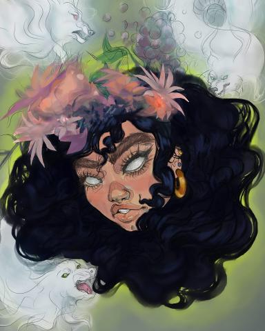 Drawing of a dark hair girl with flower in her hair