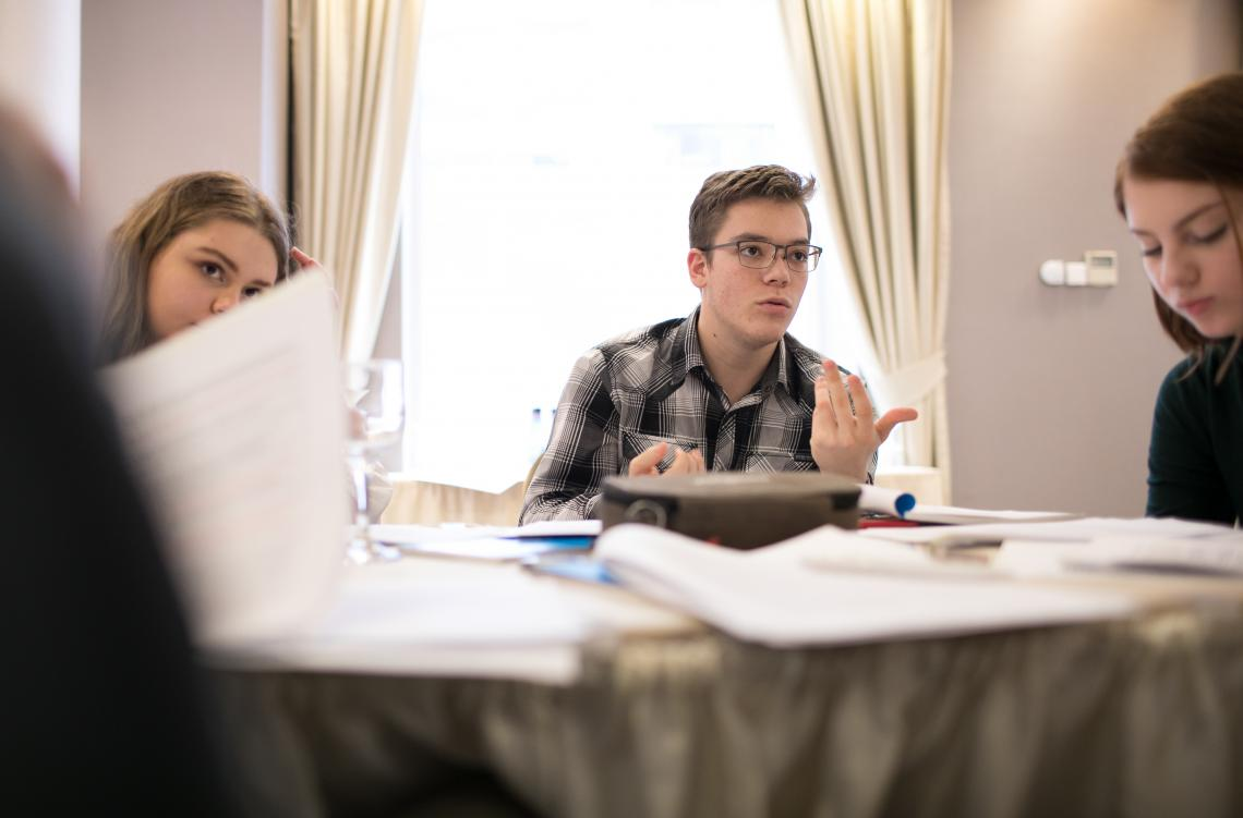 "Tudor Panait, a Junior Ambassador to EU, speaks with his colleagues during a meeting of the Romanian Children's Board. on April 19, 2019, in Bucharest. For the past months, the Board has been meeting online and offline to work on the ""Bucharest EU Children's Declaration"", a call on political leaders to consult children in decision-making processes."