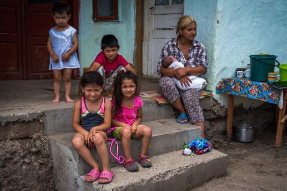 A family with several children supported through UNICEF Minimum Package of Services Initiative