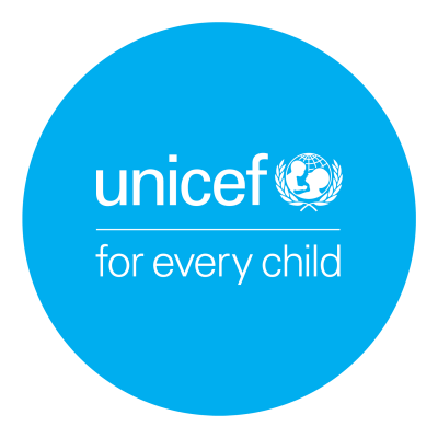 "UNICEF Logo in a blue container. Text: ""UNICEF for every child"""